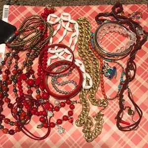 Mixed lot of red themed jewelry!